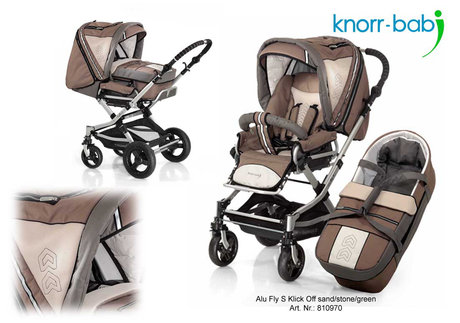 Knorr pushchair Alu Fly S click off 2012 970-sand-stone-green - 大图像