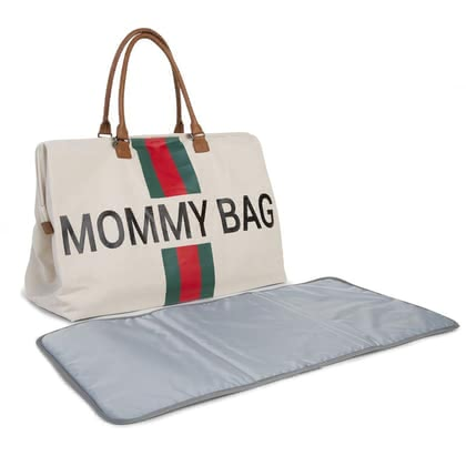 "Childhome帆布妈妈包""Mommy"" Bag Stripes green_red - 大图像"